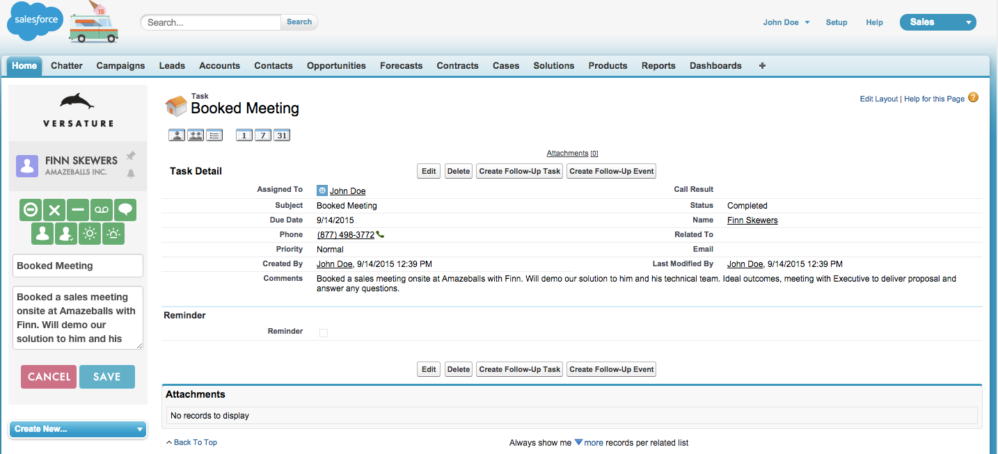 Screenshot - Versature Salesforce Integration task view